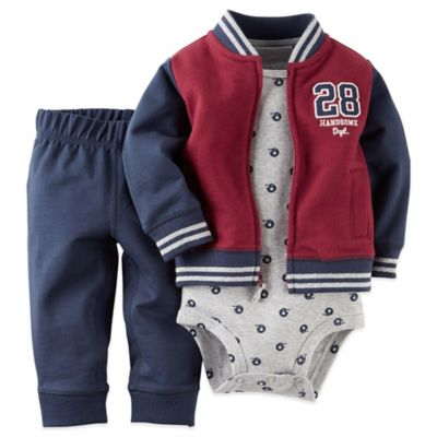 Carter's® Newborn 3-Piece French Terry Football Jacket, Pant, and Cotton Bodysuit Set