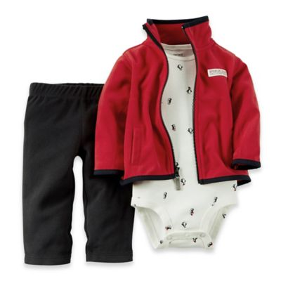 Carter's® Newborn 3-Piece Cardigan, Bodysuit, and Pant Set in Red/Black