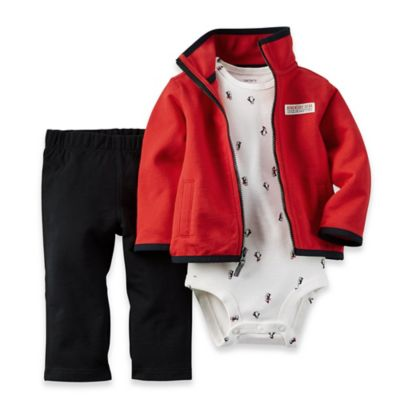 carter's® Newborn 3-Piece Cardigan, Bodysuit, and Pant Set in Red/Grey