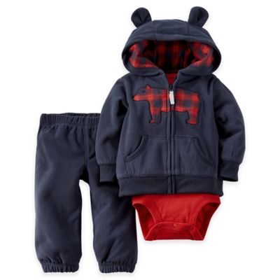 Carter's® Size 3M 3-Piece Hooded Cardigan, Bodysuit, and Pant Set in Navy/Red