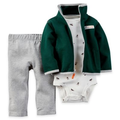 carter's® Size 9M 3-Piece Cardigan, Bodysuit, and Pant Set in Green/Grey