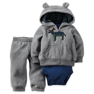 Carter's® Newborn 3-Piece Hooded Cardigan, Bodysuit, and Pant Set in Grey/Blue