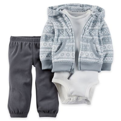 Carter's® Newborn 3-Piece Cardigan, Bodysuit, and Pant Set in Blue/White