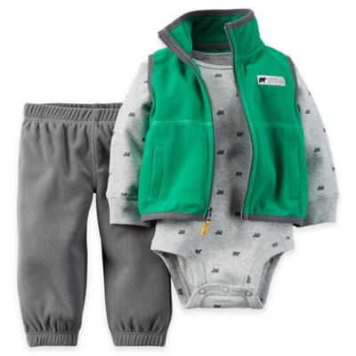 Carter's® Size 3M 3-Piece Fleece Vest, Bodysuit, and Pant Set in Green/Grey