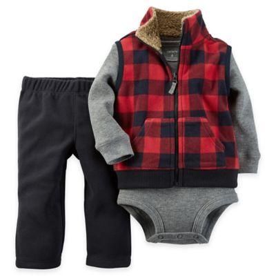 Carter's® Size 6M 3-Piece Fleece Vest, Bodysuit, and Pant Set in Red/Black