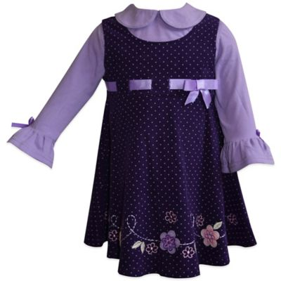 Blueberi Boulevard Size 12M 2-Piece Floral Jumper and Blouse Set in Purple