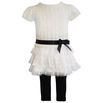 Blueberi Boulevard Size 18M 2-Piece Short Sleeve Tier Sweater and Legging Set in White/Black