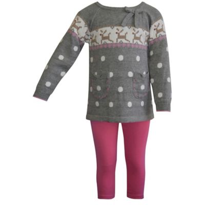 Blueberi Boulevard Size 12M 2-Piece Reindeer Sweater and Legging Set in Grey/Pink