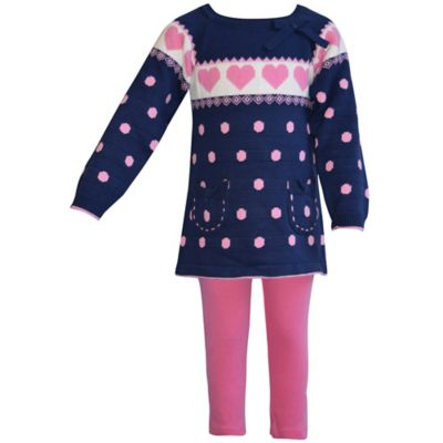 Blueberi Boulevard Size 12M 2-Piece Heart Sweater and Legging Set in Navy/Pink