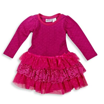 Blueberi Boulevard Size 18M French Terry Tiered Short Sleeve Dress in Fuchsia