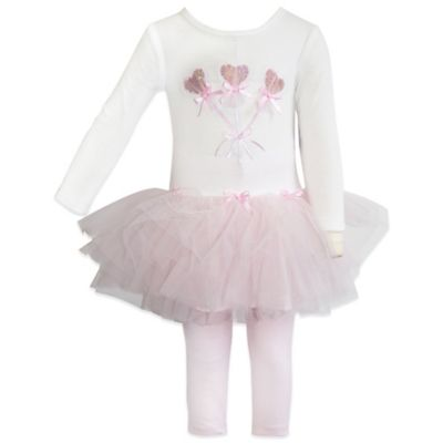 Blueberi Boulevard Size 12M 2-Piece Ballerina Tutu and Legging Set in Ivory/Pink