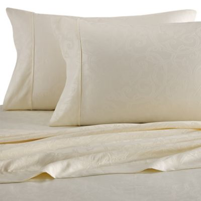 Platinum Collection Jacquard Vine 400-Thread-Count King Sheet Set in Ivory