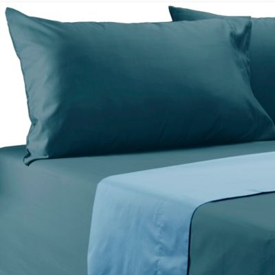 600-Thread-Count Solid Reversible King Sheet Set in Denim