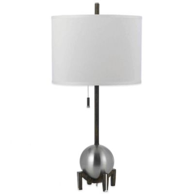 AF Lighting Gravity Table Lamp in Silver with Poly-Linen Hardback Shade