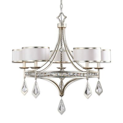 Uttermost Tamworth 5-Light Ceiling-Mount Chandelier in Champagne with Silken Shade