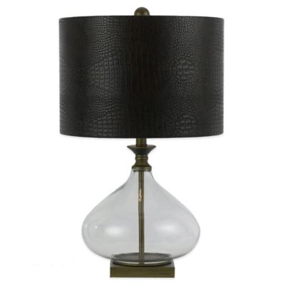 AF Lighting Sanjay Table Lamp in Clear Glass with Crocodile Hardback Shade