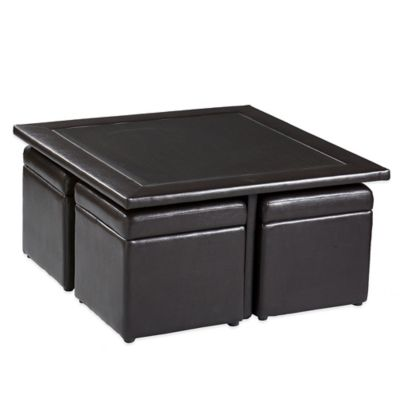 Southern Enterprises Broderick 5-Piece Storage Cube Table and Ottoman Set in Dark Chocolate