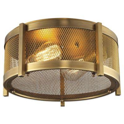 Elk Lighting Rialto 2-Light Flush-Mount Ceiling Light in Brass with Metal Mesh Shade
