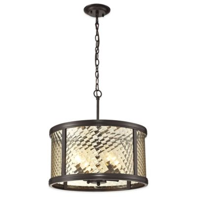 Elk Lighting 4-Light Pendant in Oil Rubbed Bronze with Champagne Glass Shade
