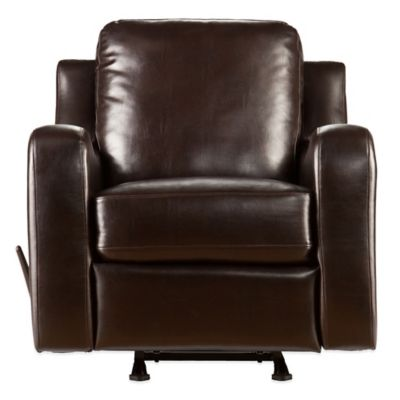Southern Enterprises Braxton Bonded Leather Rocker Recliner in Chocolate
