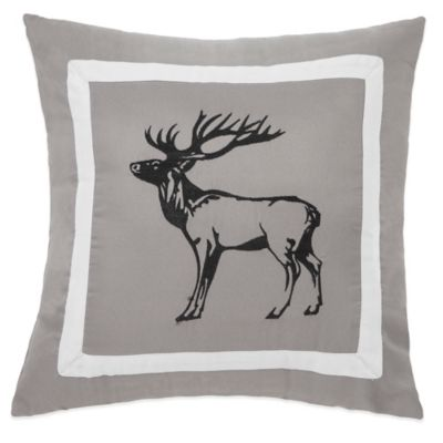 True Timber Snowfall Deer Square Throw Pillow in White