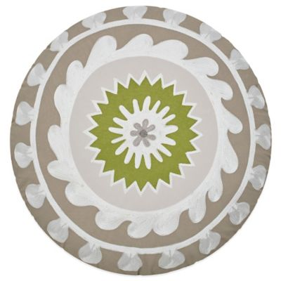 Jill Rosenwald Arrows Round Throw Pillow in Taupe