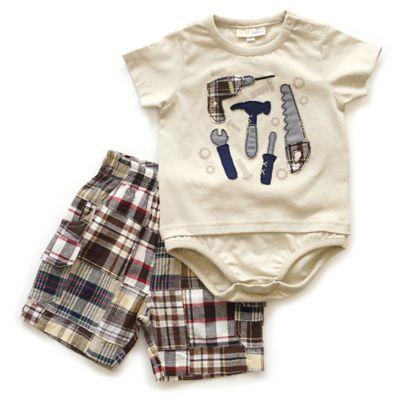 Planet Cotton® Size 18M 2-Piece Tools Bodysuit and Plaid Short Set