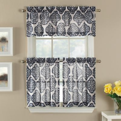 Castil 24-Inch Semi-Sheer Window Curtain Tier Pairs in White/Black Medallion Pattern