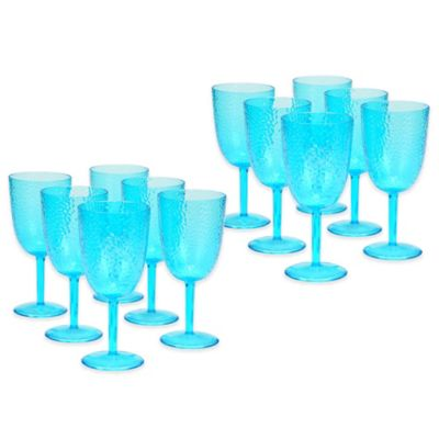 Certified International Acrylic Hammered-Glass Goblet in Teal (Set of 12)