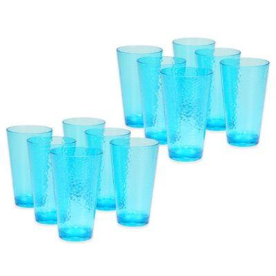 Certified International Hammered-Acrylic Iced Tea Glasses in Teal (Set of 12)