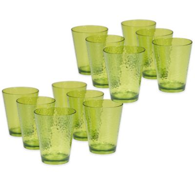 Certified International Acrylic Hammered-Glass Double Old Fashioned Glass in Green (Set of 12)
