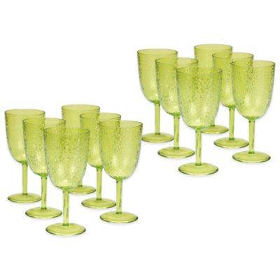 Certified International Acrylic Hammered-Glass Goblet in Green (Set of 12)