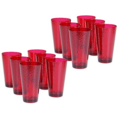 Certified International Acrylic Hammered-Glass Iced Tea Glasses in Ruby (Set of 12)