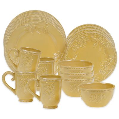 Certified International Bianca Branches 16-Piece Dinnerware Set in Gold