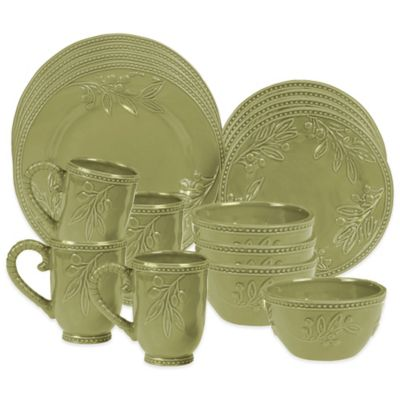 Certified International Bianca Branches 16-Piece Dinnerware Set in Green