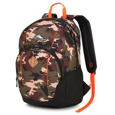 High Sierra Pirk Backpack in Whamo Camo/Black/Electric Orange