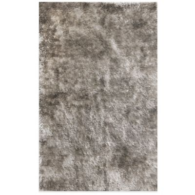 Shiny Shag 3-Foot 6-Inch x 5-Foot 6-Inch Area Rug in Silver
