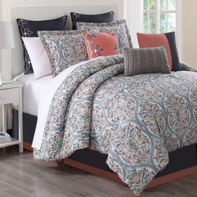 Grace 9-Piece California King Comforter Set in Grey Print