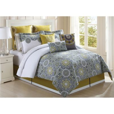 Jezebel 9-Piece California King Comforter Set in Citron/Grey