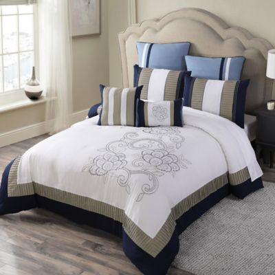 McKenna 8-Piece Queen Comforter Set in Navy/Multi