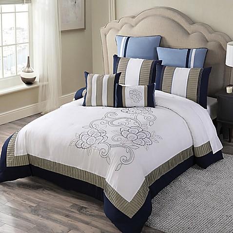 mckenna 8 piece comforter set in navy khaki bed bath beyond