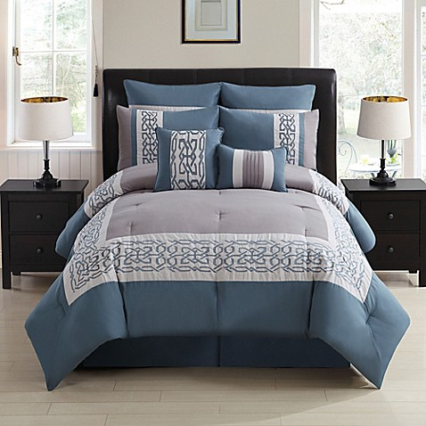 Dorsey 8 Piece Comforter Set In Grey Blue Bed Bath Amp Beyond