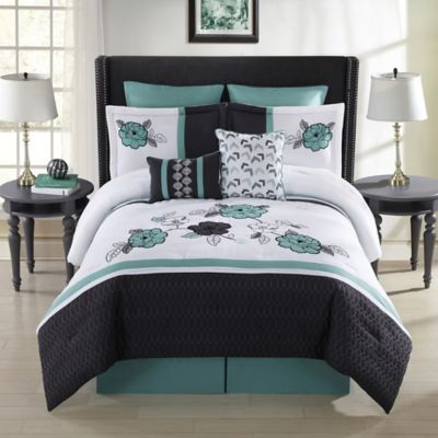 Elyse 8-Piece Queen Comforter Set in Aqua/Multi