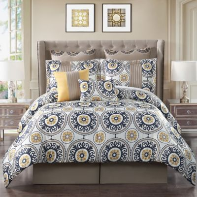 Aramic 8-Piece Queen Comforter Set in Ivory/Multi