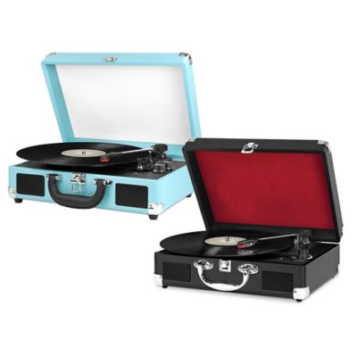 Innovative Technology Vintage 3-Speed Bluetooth® Suitcase Turntable in Blue