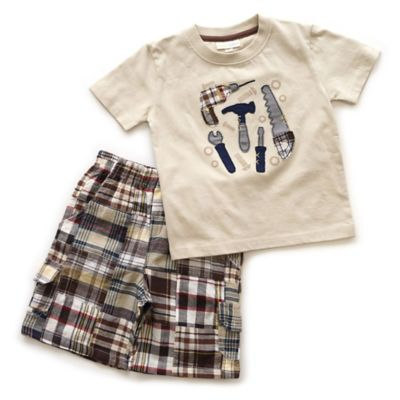 Planet Cotton® Size 3T 2-Piece Tools T-Shirt and Shorts Set in Oatmeal