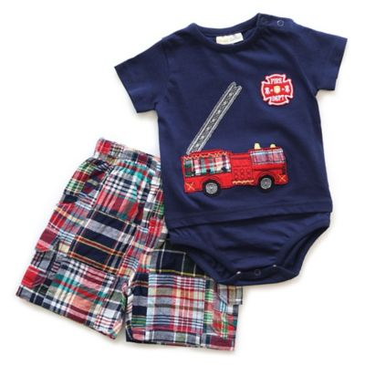 Planet Cotton® Size 6M 2-Piece Fire Engine Bodysuit and Plaid Short Set in Navy