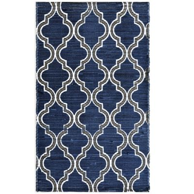 Anthology™ Chindi Dhuri Geometric 3-Foot 6-Inch x 5-Foot 6-Inch Rug in Navy