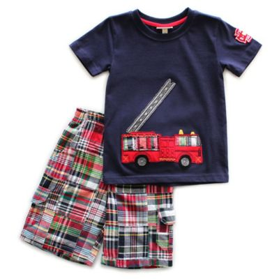 Planet Cotton® Size2T 2-Piece Tools Fire Truck T-Shirt and Shorts Set in Navy and Red
