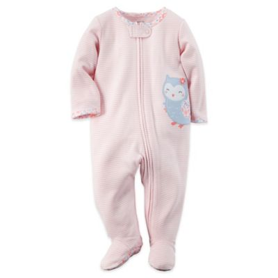 Carter's® Size 6M Owl Zip-Front Footie in Pink Stripe/Blue